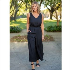 Gibson Black Wide Leg Cropped Jumpsuit Large Small